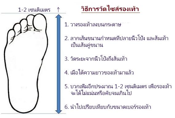 วัดไซด์รองเท้า