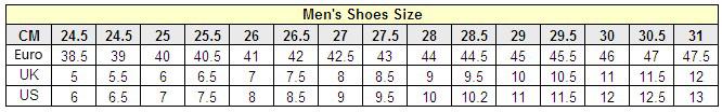 ขนาดรองเท้าของผู้ชาย