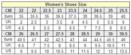 ขนาดรองเท้าของผู้หญิง